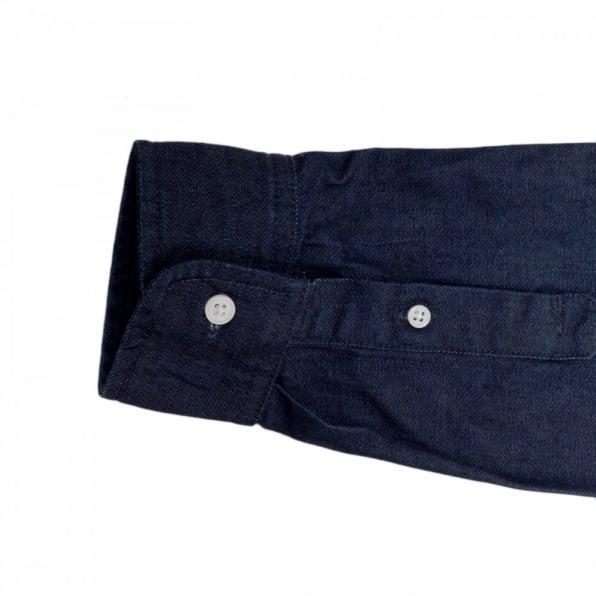 CARHARTT Civil Blue Rinsed Mens Cotton Long Sleeve Button Down Collar Slim Fit Shirt