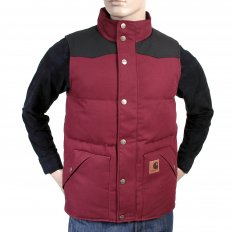 Cranberry with Black Rigid Zip Front Regular Fit Padded Gilet
