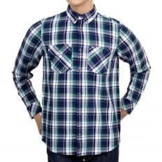 Long Sleeve Labor Blue Reynolds Checked Cotton Shirt with Soft Collar, 2 Chest Pockets and Pearlised Buttons