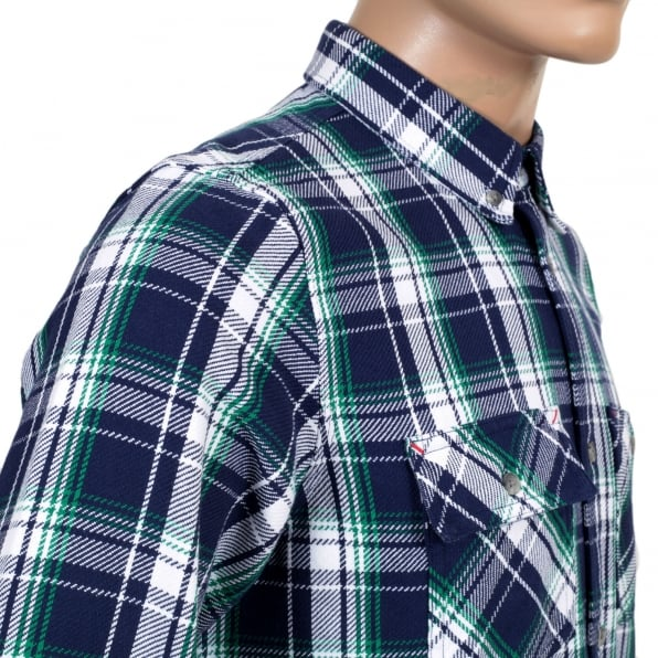 CARHARTT Long Sleeve Labor Blue Reynolds Checked Cotton Shirt with Soft Collar, 2 Chest Pockets and Pearlised Buttons