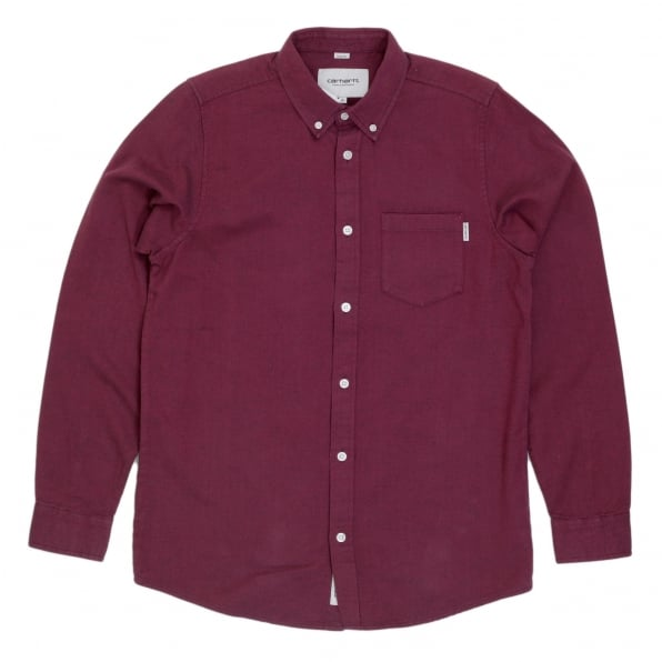 CARHARTT Long Sleeve Pearlised Buttons Equipped Regular Fit Solid Cranberry Coloured Cotton Dalton Shirt for Men