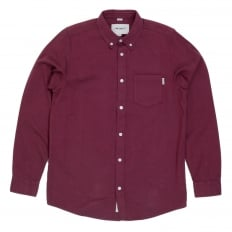 Long Sleeve Pearlised Buttons Equipped Regular Fit Solid Cranberry Coloured Cotton Dalton Shirt for Men