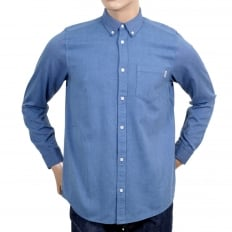 Long Sleeve Regular Fit Sky Blue Solid Cotton Dalton Shirt with Single Chest Pocket and Pearlised Buttons