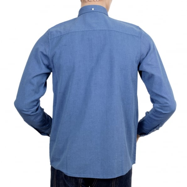 CARHARTT Long Sleeve Regular Fit Sky Blue Solid Cotton Dalton Shirt with Single Chest Pocket and Pearlised Buttons