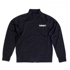 Mens Black College Track Jacket with Zipped Front and High Collar and White Text Chest Logo CARH6840