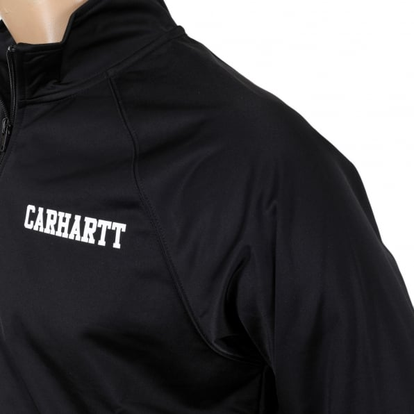 CARHARTT Mens Black College Track Jacket with Zipped Front and High Collar and White Text Chest Logo CARH6840