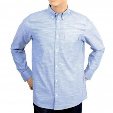 Mens Light Blue Cotton Oxford Slim Fit Shirt with Long Sleeve