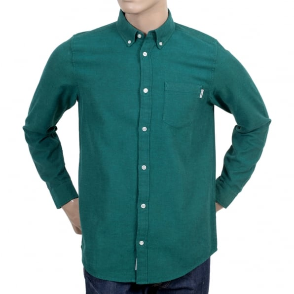 CARHARTT Mens Long Sleeve Solid Parsley Dalton Regular Fit Shirt with Single Chest Pocket and Pearlised Buttons