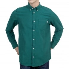 Mens Long Sleeve Solid Parsley Dalton Regular Fit Shirt with Single Chest Pocket and Pearlised Buttons