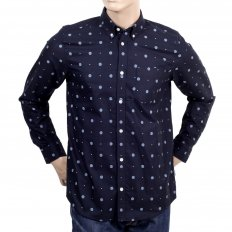 Mens Printed 100% Cotton Slim Fit Long Sleeve Shirt with Button Down Collar