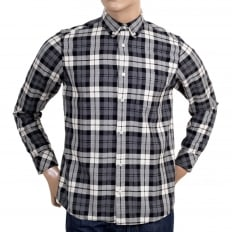 Mens Regular Fit Baker Check Long Sleeve Shirt in Heather Grey with Button Down Collar and Single Chest Pocket