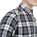CARHARTT Mens Regular Fit Baker Check Long Sleeve Shirt in Heather Grey with Button Down Collar and Single Chest Pocket