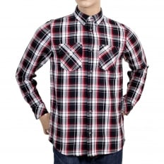 Mens Regular Fit Long Sleeve Cotton Shirt with Black Reynolds Check, 2 Chest Pockets and Soft Collar
