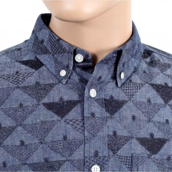 CARHARTT Mens Slim Fit Crandall Cotton Chambray Button Down Collar Shirt In Blue