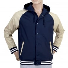 Navy Campbell Jacket with Looser Ribbed Waistband and Sleeve Cuffs