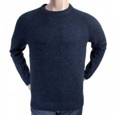 Navy Heather Wool Mix Regular Fit Crew Neck Sweater