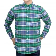 Resolution Lavitt Check Regular Fit Shirt in Green and Navy with Button Down Collar and Single Chest Pocket