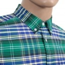 CARHARTT Resolution Lavitt Check Regular Fit Shirt in Green and Navy with Button Down Collar and Single Chest Pocket