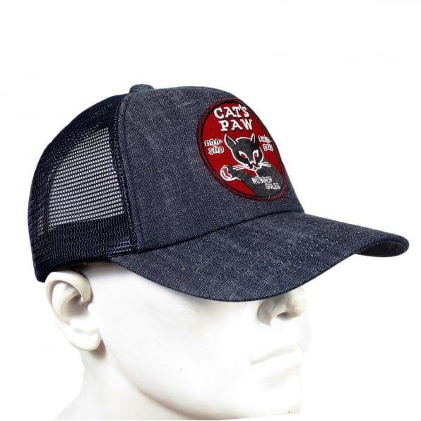 CATS PAW Mens CP02328 Denim Truckers Cap with Navy Mesh Back