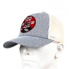 Mens CP02328 Hickory Narrow Striped Truckers Cap with Off White Mesh Back