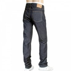 Mens Navy Straight Fit One Wash Low Rise Selvedge Denim Jeans CP41218