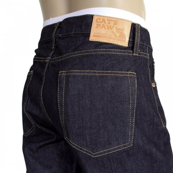 CATS PAW Mens Navy Straight Fit One Wash Low Rise Selvedge Denim Jeans CP41218
