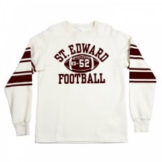 Ecru Off White College Football Crew Neck Regular Fit Long Sleeve Sweatshirt with Football Print CH64089