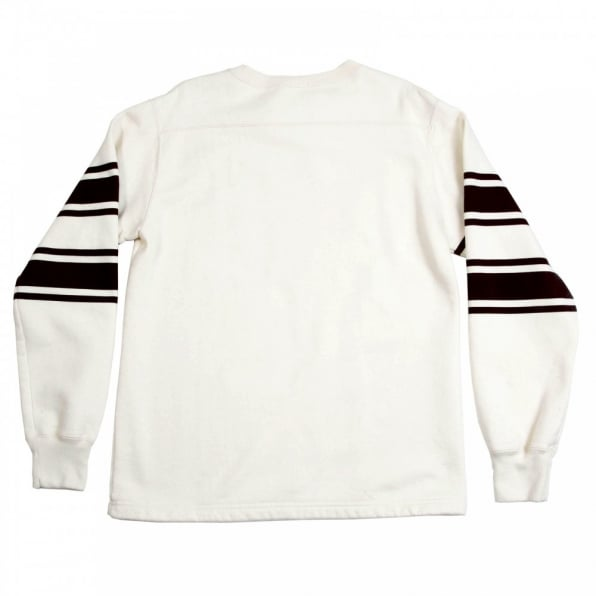 CHESWICK Ecru Off White College Football Crew Neck Regular Fit Long Sleeve Sweatshirt with Football Print CH64089
