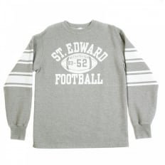 Light Grey Ribbed Crew Neck College Football Regular Fit Long Sleeve Sweatshirt CH64089