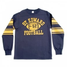 Navy Long Sleeve College Football Ribbed Crew Neck Regular Fit Sweatshirt with Football Print CH64089