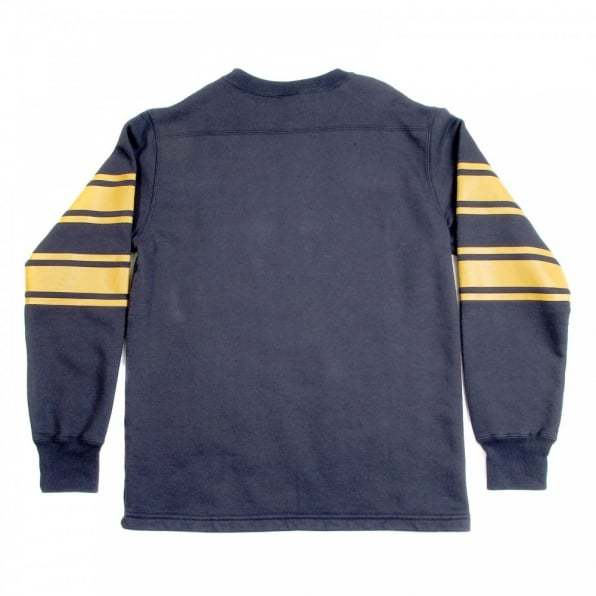 CHESWICK Navy Long Sleeve College Football Ribbed Crew Neck Regular Fit Sweatshirt with Football Print CH64089