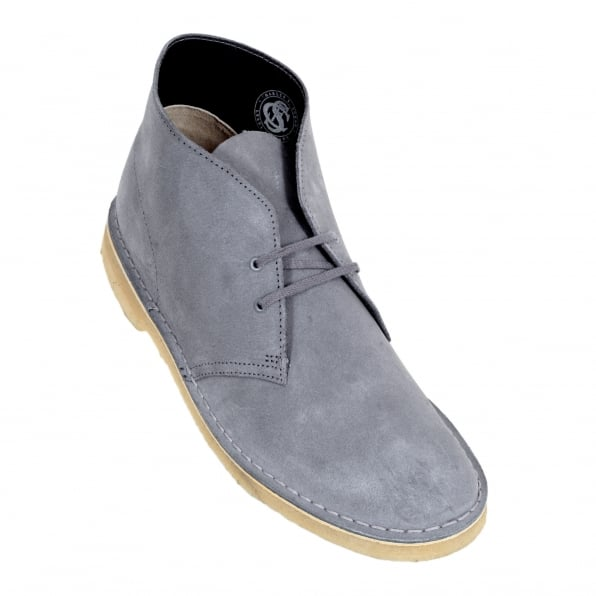 CLARKS ORIGINALS Soft Blue Grey Lace Up Classic Moccasin Suede Desert Boots with Metal eyelets and Crepe Sole