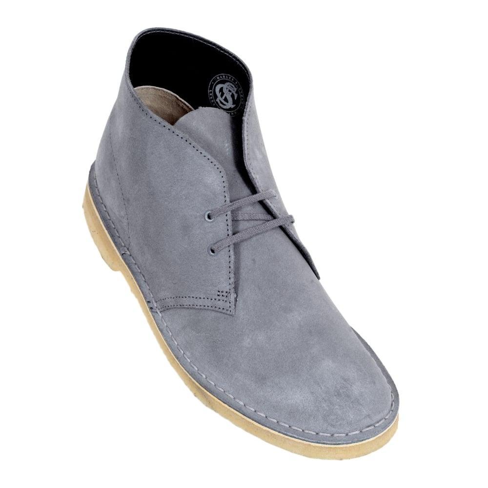 Clarks Originals Mens Desert Boot Grey Lace Up Suede Boot