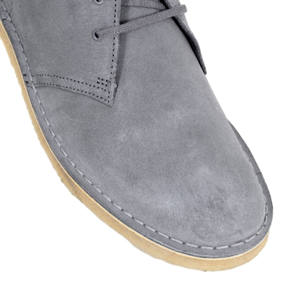 82b01c561943aa ... CLARKS ORIGINALS Soft Blue Grey Lace Up Classic Moccasin Suede Desert  Boots with Metal eyelets and ...