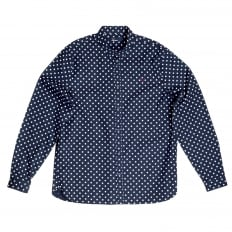 Cotton Made Navy Blue Long Sleeve Regular Fit Shirt for Men with Polka Dots from Fred Perry