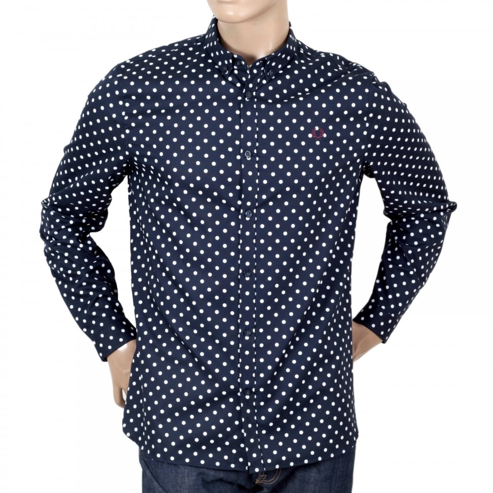 2fe888ef FRED PERRY Cotton Made Navy Blue Long Sleeve Regular Fit Shirt for Men with  Polka Dots ...