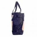 RMC JEANS Custom Made Unisex Large Denim with Leather Tote Bag