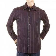 Aubergine Striped Fitted Long Sleeve Shirt