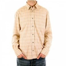 Beige Long Sleeve Checked Fitted Shirt