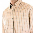 D&G DOLCE & GABBANA Beige Long Sleeve Checked Fitted Shirt