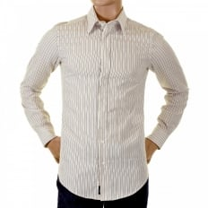 Beige Striped Fitted Long Sleeve Shirt