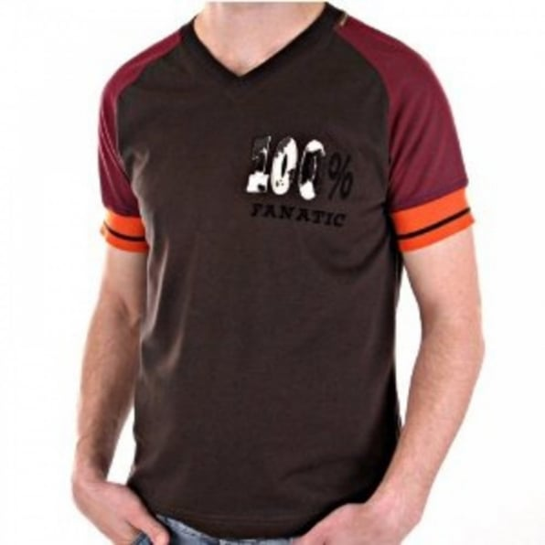 D&G DOLCE & GABBANA Brown Short Sleeve V Neck Slim Fit T-Shirt