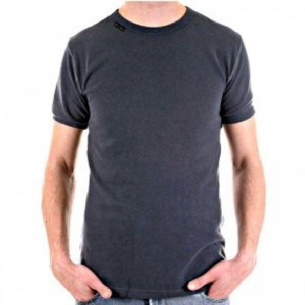 D&G DOLCE & GABBANA Crew Neck Dark Grey Slim Fit Short Sleeve T-Shirt