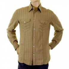Khaki Striped Fitted Long Sleeve Shirt