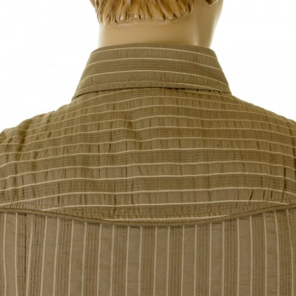 D&G DOLCE & GABBANA Khaki Striped Fitted Long Sleeve Shirt