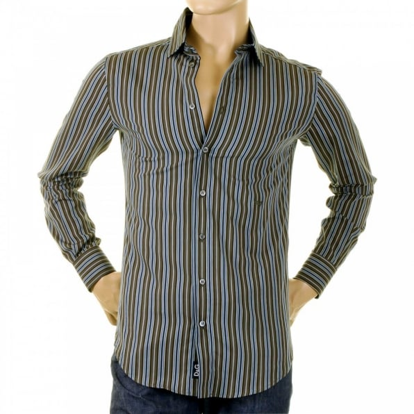 D&G DOLCE & GABBANA Olive/Blue/Black Striped Fitted Long Sleeve Shirt