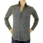 Olive/Blue/Black Striped Fitted Long Sleeve Shirt