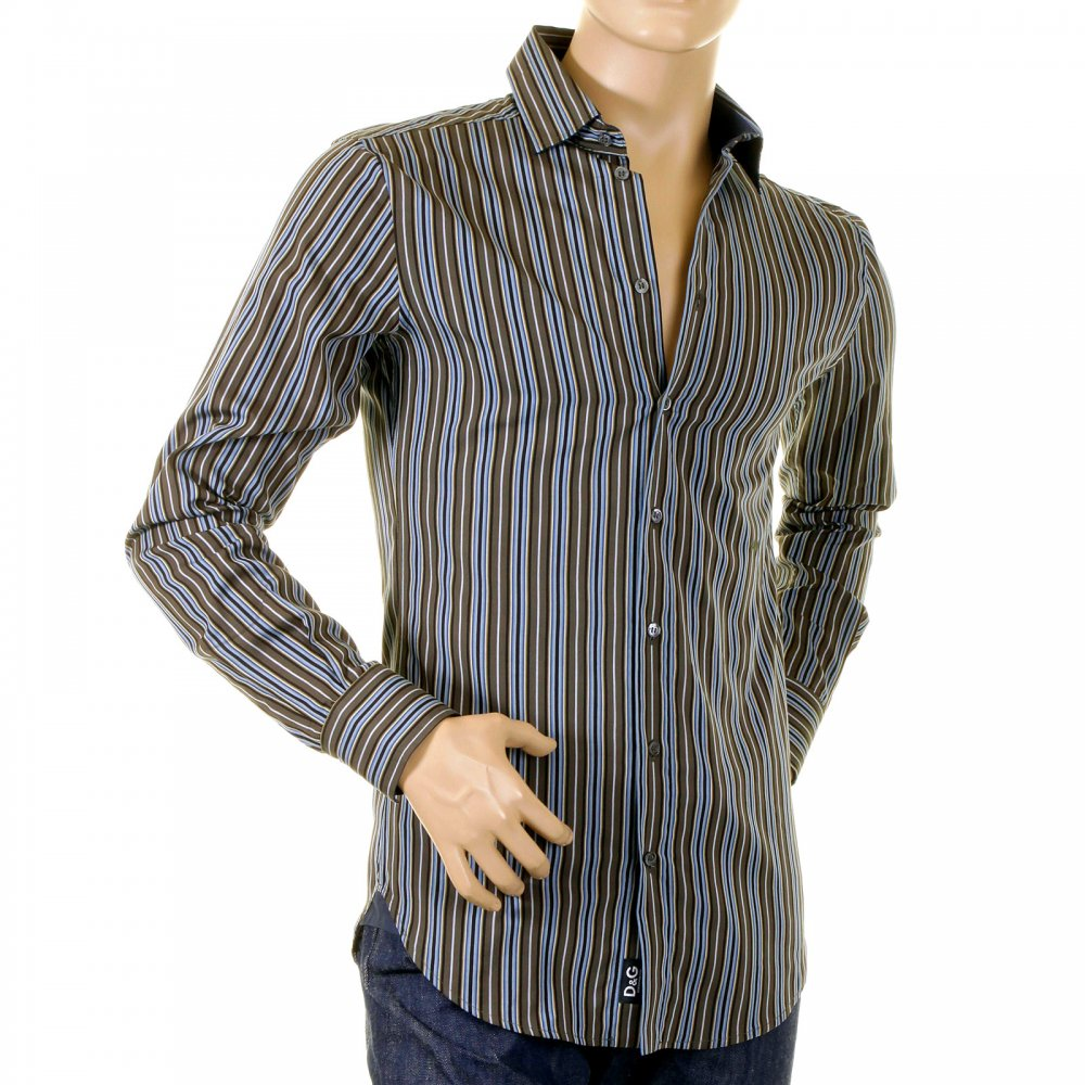 Olive Striped Dolce Gabbana Mens Designer Shirt Online Shop At Niro