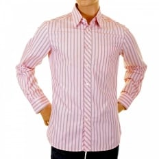 Pink Striped Fitted Long Sleeve Shirt