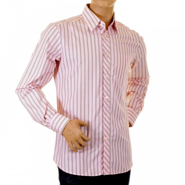 D&G DOLCE & GABBANA Pink Striped Fitted Long Sleeve Shirt